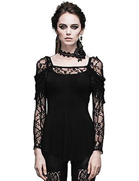 Devil Fashion Affollamento pizzo con scollo a V gotiche donne Steampunk camicia a maniche lunghe Top Maglietta...