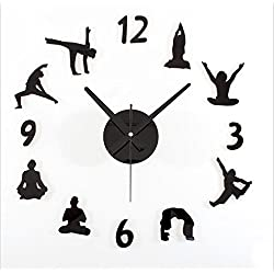 Reloj de Pared 3D Sala de estar Reloj de pared tranquilo Personalidad Yoga DIY Reloj de pared Decoración moda Wall Stickers