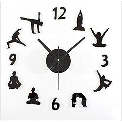 Reloj de Pared 3D Sala de estar Reloj de pared tranquilo Personalidad Yoga DIY Reloj de pared Decoración moda Wall Stickers