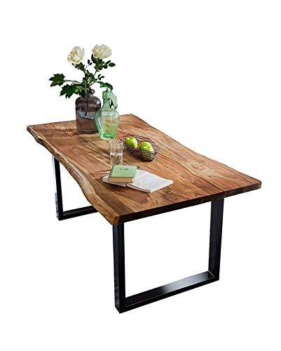SAM Baumkantentisch 140x80 cm Quarto, nussbaumfarbig, Esszimmertisch aus Akazie, Holz-Tisch mit schwarz lackierten Beinen
