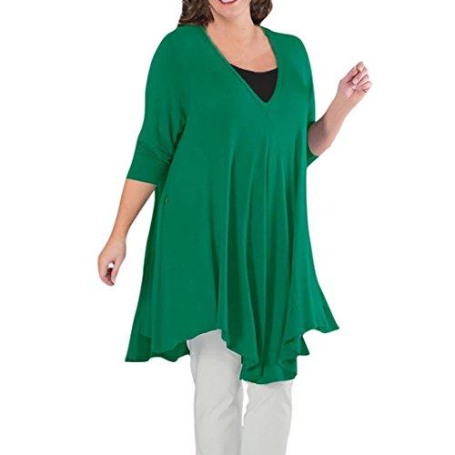 4x Sweatshirt (Lose Tops CLOOM Frauen Langarmshirts Blusen Langarm Hemd Rundhals Oberteil Shirt Crop Top Damen Sweatshirt Hoodie Oberteile O-Ausschnitt Irregulär Hemden Mode T-shirt Tunic (Grün, 4XL))