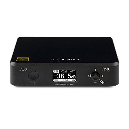 Topping D50 HiFi Audio DAC ES9038Q2M2 XMOS XU208 DSD512 USB 32Bit/768KHz DSD512 Decodificador (Negro)