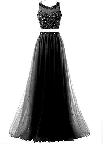 Bainjinbai Lang Damen A-Line Zwei-teilig Abendkleider Brautjungfernkleider Cocktail Ballkleider Black UK08