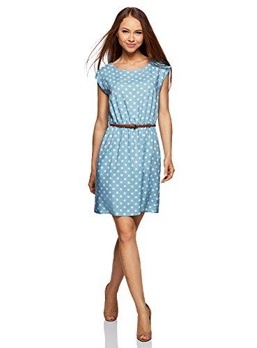oodji Ultra Damen Ärmelloses Kleid aus Bedruckter Viskose, Blau, DE 36/EU 38/S