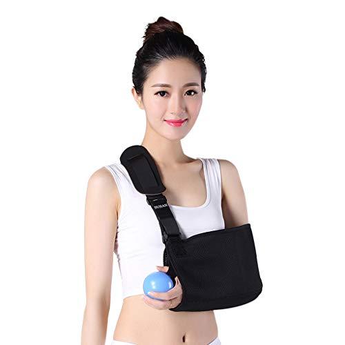 XGG Erwachsene One Size Arm Sling Schulterstütze, medizinisch geprüft, Easy Fit, Daumenschlaufe, Unisex-Schwarz,Black,L - Black Arm-schlinge