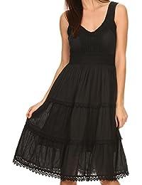 Sakkas Presta Roman Sleeveless Lined Tank Top Dress with Emrboidery Lace Design