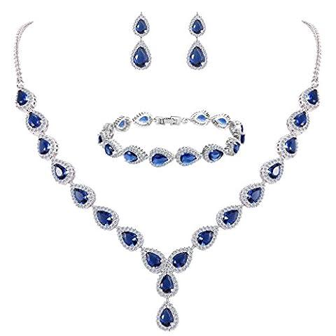 Clearine Femme Mariage Parure Goutte Cubic Zircon Infinity Figure 8 Y-Collier Tennis Bracelet Pendante Boucles d'oreile Série Saphir