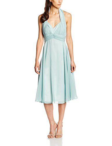 Swing Damen Neckholder-Kleid, Knielang, Einfarbig, Gr. 40, Grün (mint 581)