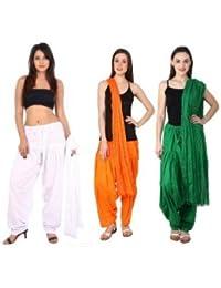 Noor Enterprises Women's Cotton Handmade Punjabi Traditional Semi-Patiala Salwar With Dupatta (Multicolour, Free...