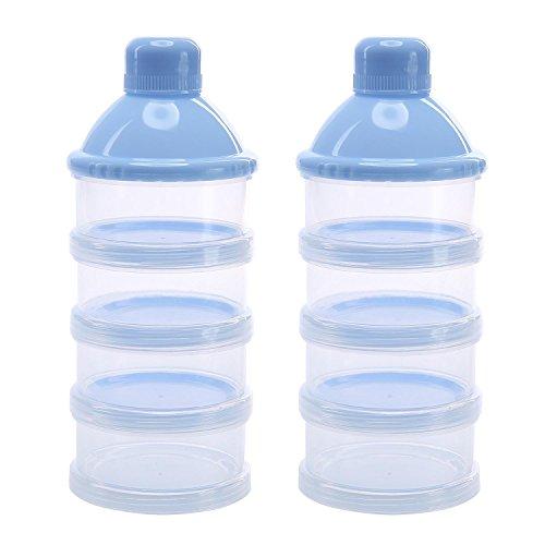 niceEshop(TM) Tragbare Non-Spill Baby Formula Milchpulver Dispenser / Aufbewahrung Snack Container BPA Free 2 Pack, Blau