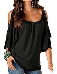 BienBien Donna Maglietta Elegante Estivo T Shirt Spalle Scoperte Moda Bluse  con Volant Camicie Manica Corta 8fb2398897c