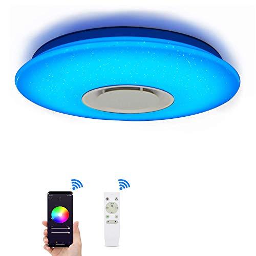 Deckenleuchte mit Alexa Smart WiFi Deckenlampe, mit Fernbedienung Dimmbar Farbwechsel, Sternenhimmel Deckenlampe mit Bluetooth-Lautsprecher, kompatibel mit Amazon Alexa