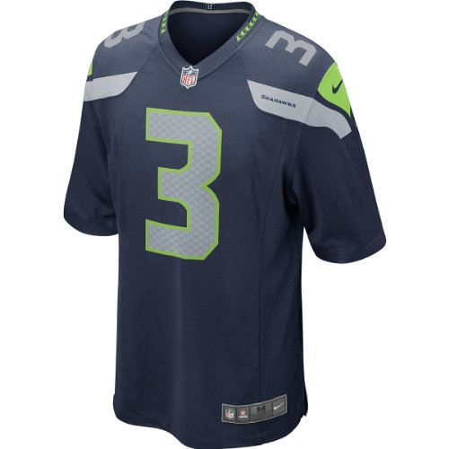 Seattle Seahawks Nike YOUTH Game Jersey–College Navy–Groß, 3–Russell Wilson
