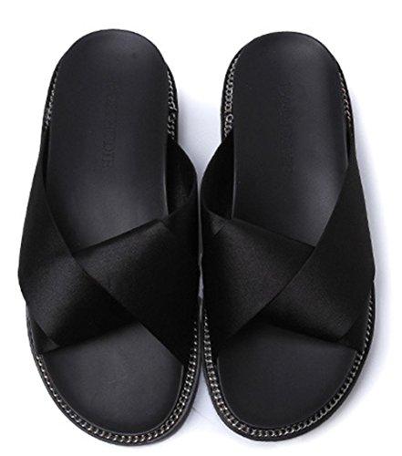 Soie pantoufles confortables d'été à plat étudiante avec des chaussures de mode sandales antidérapantes à fond épais avec croix en métal Black