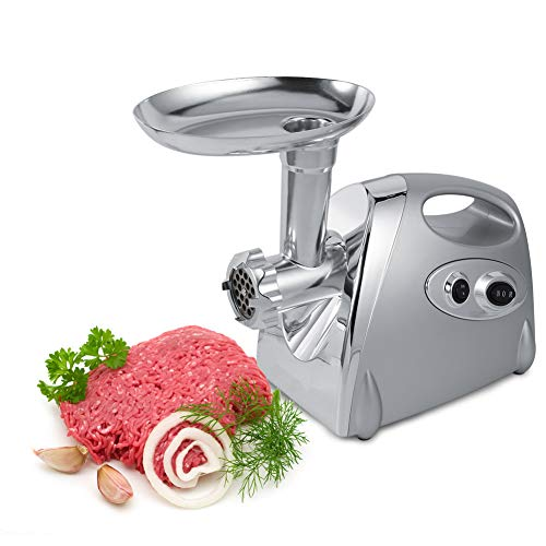 Picadora de Carne eléctrica, 800W Picadoras de Carne Salchicha y Máquina Picadora de Carne con Adaptador de Salchicha y 3 Placas de molienda, Plateado