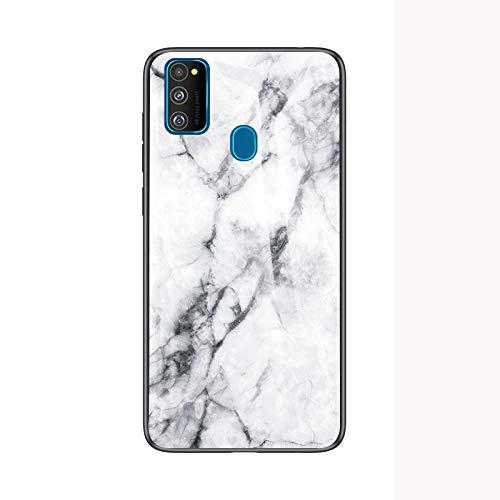 SHIEID Handyhülle für Samsung Galaxy M30s Hülle,Marmor Gehärtetem Glas & Silikon Rand Hybrid Hardcase Stoßfest Kratzfest Handyhülle Dünn Case Cover für Handyhülle für Samsung Galaxy M30s (Weiß)