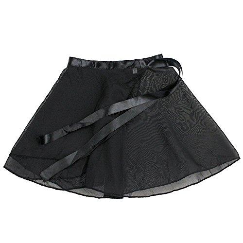 Erwachsene Chiffon-wickelrock (SK Kinder Ballett Wickelrock aus Chiffon lockerluftiger Ballettrock zum Binden in den schwarz, in den Größen 130-160cm Black)