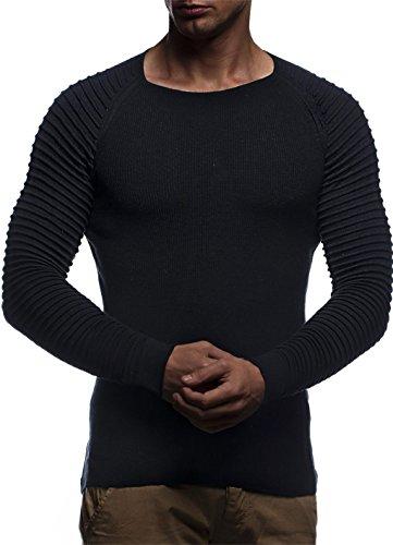 LEIF NELSON Herren Strickpullover Basic Rundhals Crew Neck Sweatshirt Langarm Sweater Feinstrick LN20729, Größe L, Schwarz - Gesichter Crew Neck Sweatshirt