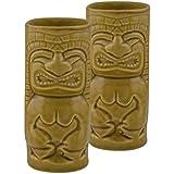 Homesake Handcrafted Ceramic Rustic Yellow Beer Mug 450 Ml, Tiki Tropical Bar Cocktail Mug, Set Of 2