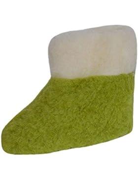 SamWo, Scaldapiedi Pantofole per bambini 100% lana di pecora Green Pea, misure: 25–34