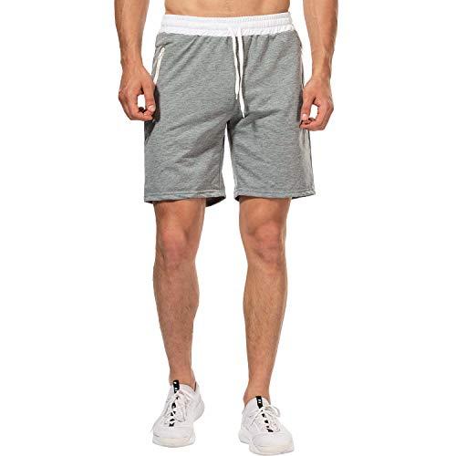 CHYU Herren Sport Joggen und Training Shorts Fitness Kurze Hose Jogging Hose Bermuda Reißverschlusstasch (M, Hellgrau) -