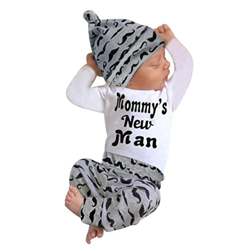 OSYARD Baby Junge Kleidung Satz, Kleinkind Overall Pants Hut Set Herbst Winter Warm Bekleidungssets,Nette 3er Set Neugeborenes Baby Strampler Tops + Lange Hosen Hut Outfits Kleidung 0-18 Monat
