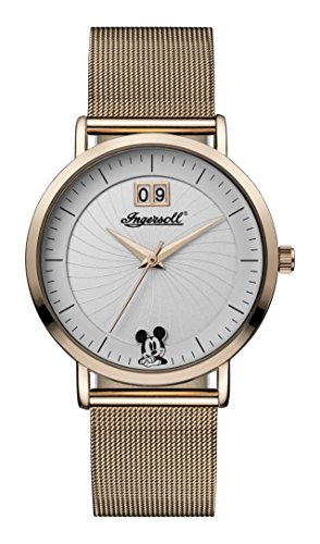 Ingersoll Disney Women\'s Union Quartz Watch with Weiß Dial and Rose Gold Stainless Steel Bracelet ID00504