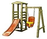 Woodinis-Spielplatz® 186210-1 - Baby Spielturm aus Holz, 1-4 Jahre inklusiv Zubehör