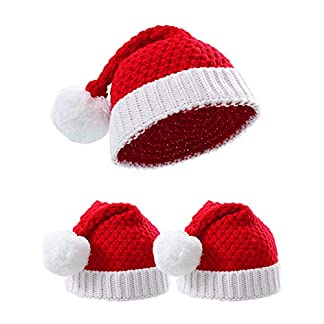 Hotop 3 Piezas Gorros de Papá Noel de Punto Blanco Rojo Gorro de Punto de Navidad para Invierno (Tamaño Adulto)