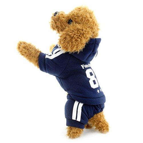 (zunea Fleece Basic Pet Hoodies für kleine Hunde, Welpen, Katzen Jumpsuit Coat Team Jersey Sports Soft Winter Warm Pullover Kleidung)