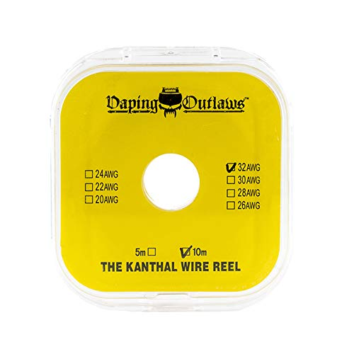 Vaping Outlaws Kanthal Draht Spule 10 m - wiederaufbaubarer Vape Spule für RDA RDTA und RBA Vape Tanks - Kanthal 32 AWG / 30 AWG - 10 m Spule