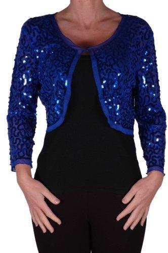 EyeCatch - Scarlett Sequin Chiffon Long Sleeve Top Bolero Shrug Cardigan Royal Blue Large (Crochet Cardigan Knit)