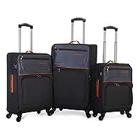 Giordano Luggage Soft Case Trolley Set With 4 Wheel, 3 Pcs, Black - 1619516, Unisex