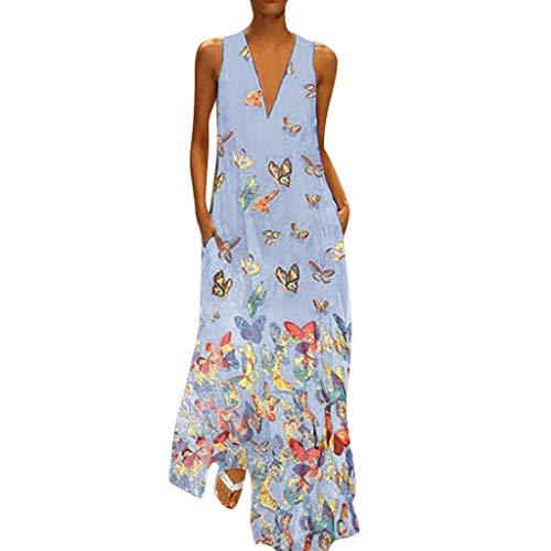 Zegeey Damen Kleid Retro ÄRmellos V-Ausschnitt BöHmen Blumen Drucken Sommer Maxikleid Sommerkleider Strandkleider Blusenkleid(B5-Blau,EU-48/CN-5XL)