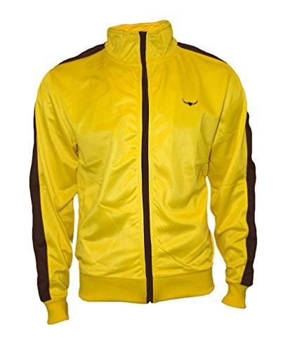 ROCK-IT Herren Track Jacket - stylische und hochwertige retro Style Trainingsjacke - Tracktop - Sweater Jacke - Größen S-XXXL - Farbe Gelb Braun L (Retro Track)