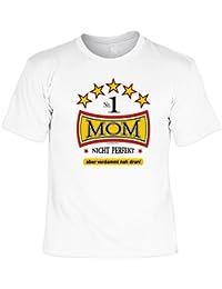 T-Shirt als Geschenk für die Mutter - Nr. 1 Mom Nicht toll aber verdammt nah dran - mit Gratis Urkunde - Farbe: weiss