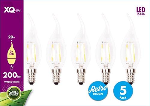 XQ-lite XQ1403 Bombilla LED , Vela, E14, 2W, Luz blanca cálida