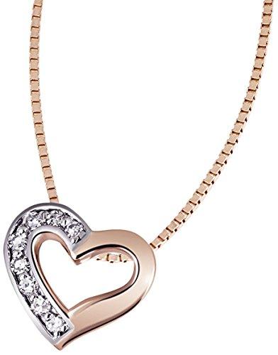 Goldmaid Damen-Herz-Halskette Bicolor Gold Herz 3 Diamanten 0,03 Karat Herzanhänger Diamantkette