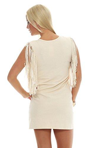 Fashion4Young - Robe - Sans Manche - Femme Gelb Multicolor Ivoire