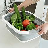 Bassine Rétractable Gris,Rameng Panier Linge Pliable Égouttoir à Vaisselle Grand Panier de Rangement Cuisine Fruit Basket (A,30 * 40cm)