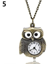 ShopyStore 5 Vintage Antique Bronze Necklace Chain Heart Clock Quartz Pocket Watch Gift