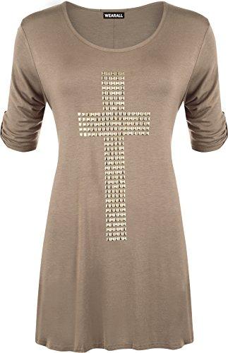 WearAll - Tunique évasée à manches courtes avec un croix clouté - Hauts - Femmes - Grandes tailles 42 à 56 Brun
