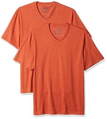 Amazon Essentials 2-Pack Regular-Fit V-Neck T-Shirt, Orange Heather Ora), US L (EU L) -