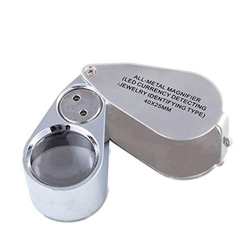 JIAHE115 Handlupe LED-Lampe Hohe Vergrößerung 40-fache Vergrößerung Identifikation Schmuck Kollektion Jade Violet Light