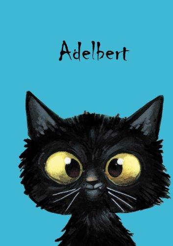 Adelbert: Personalisiertes Notizbuch, DIN A5, 80 blanko Seiten mit kleiner Katze auf jeder rechten unteren Seite. Durch Vornamen auf dem Cover, eine ... Coverfinish. Über 2500 Namen bereits verf