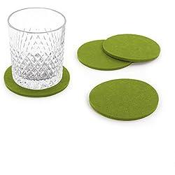 Oblique Unique® Filzuntersetzer rund 4er Pack für Tisch und Bar - Glasuntersetzer Untersetzer aus Filz (Grün)