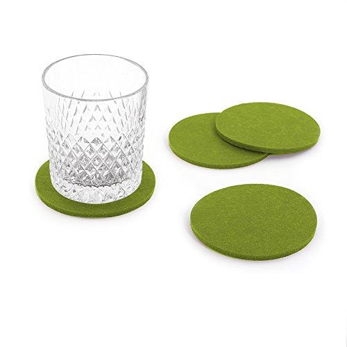 Oblique-Unique® Filzuntersetzer rund 4er Pack für Tisch und Bar – Glasuntersetzer Untersetzer aus Filz (Grün)