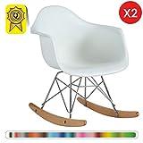 Decopresto 2 x Kid Schaukelstuhl skandinavisch Beine: Naturholz Sitz: Weiß DP-RARKL-WH-2