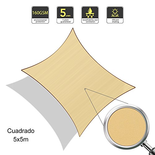 Sunlax tenda a vela quadrata 5 x 5 metri, impermeabile e resistente, per spazi all'aperto, color sabbia