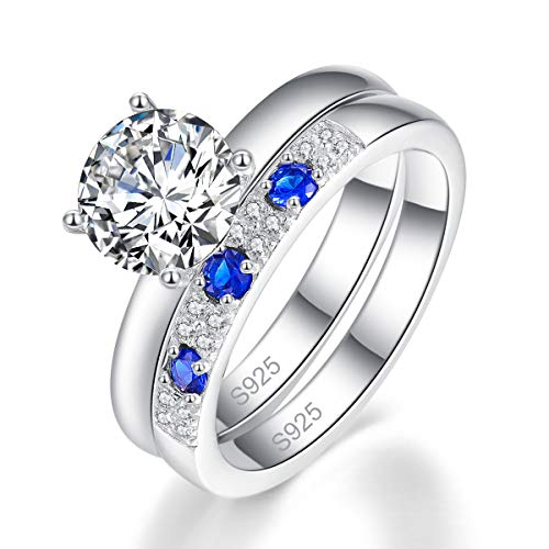 Bonlavie Schmuck Damen Verlobungs Ringe Set 925 Sterling Silber Zirkonia Eheringe Saphir Breiten Ring Damen Frauen Geschenk (Damen Ehering-sets)